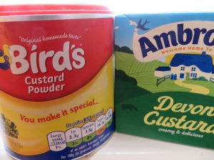 buying custard for a food bank